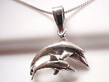Mother Dolphin and Baby Necklace 925 Sterling Silver Corona Sun Jewelry
