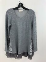 Areve Anthropologie Sweater Womens Small Gray Swing Godet Tied Bow Hem A37-02
