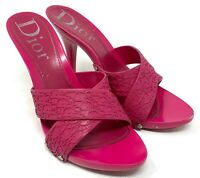 Auth Christian Dior Trotter Sandals Heels #36.5 US 5.5 Pink Rubber Rank B