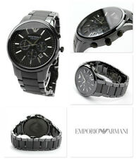NEW EMPORIO ARMANI AR1452 DIAL 43MM BLACK CERAMIC MATTE MEN'S WATCH UK