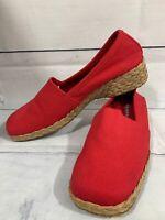 EASY SPIRIT Women's Red Canvas SEASTA Espadrille Jute Wedge Shoes Size 7.5 M