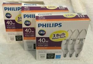 3 boxes Philips Dimmable Efficient 4.5W B11 E12 120 Replacement LED Light Bulbs