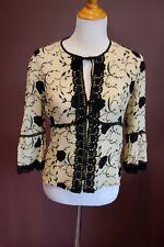 NANETTE LEPORE 3/4 sleeve tan & black embroidered silk blend cardigan jacket 10