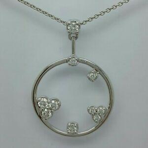 18ct White Gold Brilliant Cut Diamond Set Circular Pendant