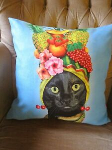 TROPICAL CARRIBEAN EXOTIC FRUIT BLACK CAT PETS ROCK PILLOW CUSHION COVER ONLY