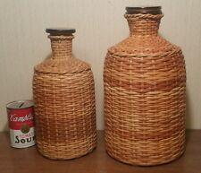 2 Apothecary vtg glass jar woven basket bottle storage floor table art decor