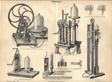 Stampa antica POMPE AD ARIA meccanica 1890 Old antique print