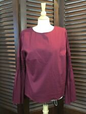 Catherine Malandrino Women's Top Burgundy Peasant Blouse Bell Sleeve Size L NWT