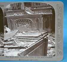 WW1 Stereoview Shell Wrecked Richebourg Cathedral High Altar Realistic Travels