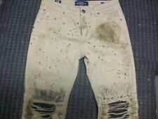 New Men's Damati Distressed & Destroyed Beige-Green Jeans Size 34x32 Brand New
