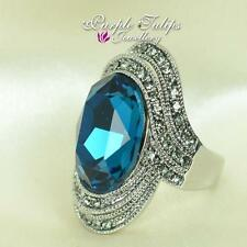 18K White Gold Plated Large Sapphire Oval Made With SWAROVSKI Crystals Ring