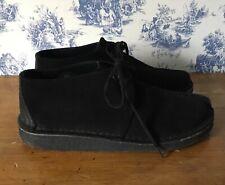 Men's CLARKS ORIGINALS Desert Trek Black Suede Lace-up Desert Shoes Size UK 9 G