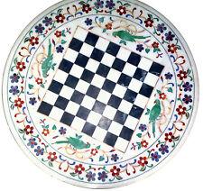 "18"" Marble Chess Table Top Semi Precious Stone Inlay Home Decor"