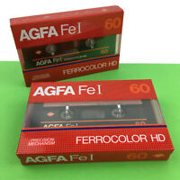 Agfa FeI 60 Blank Audio Cassette Tape x2 Recordable Vintage New Sealed Germany