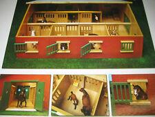 Pferdestall für Schleich Pferde 1:24 Holz Stall mit 7 Pferdeboxen
