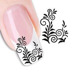 Nail Art de transferencia de agua Pegatina Adhesivos Negro Flores calcomanías (DX1455)
