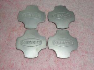 "1985 - 1989 Merkur XR4TI Factory OEM Silver Wheel Center Caps 87BB-1000-BA 3.5"""