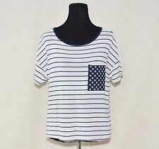 MODCLOTH'S NOT WHAT IT THEMES KNIT TOP DARK IVORY/BLUE STRIPPED FITS LARGE