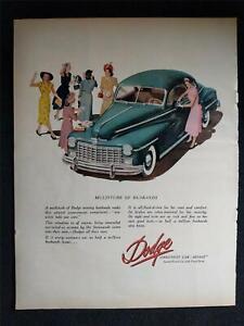 Vintage 1948 DODGE SMOOTHEST CAR AFLOAT Magazine Print Ad