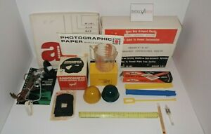 Lot Darkroom lamp kit Anscomatic developing tank print tongs Photographic trays