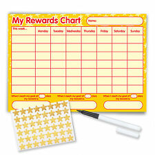 Re-usable Reward Chart (including FREE Stickers and Pen) - Yellow Stars Design