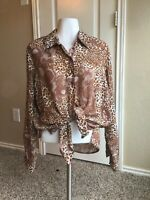 Vintage 70's Stylized Animal Print Light Weight Semi Sheer Button Up Top Shirt L