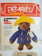 Paddington Bear Simplicity Petables Pattern Uncut Kit Incomplete