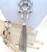 Crown Trifari Tassel Necklace & Bracelet Demi Set Silver Tone Oval Links Vintage