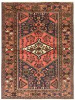 "Hand Knotted Zanjan Tribal Wool Navy Coral Nomadic Oriental Rug 4'1"" x 6'4"""