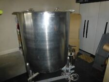 Used Stainless Steel 88 Gal Mixing Tank With Lid On Stand With Drain