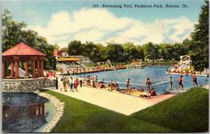 "1940s Atlanta, Georgia Postcard ""Swimming Pool, Piedmont Park"" Curteich Linen"
