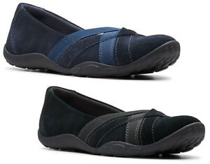 NEW WOMEN CLARKS HALEY JAY BLACK OR NAVY LEATHER SUEDE MEDIUM OR WIDE FLAT SHOES