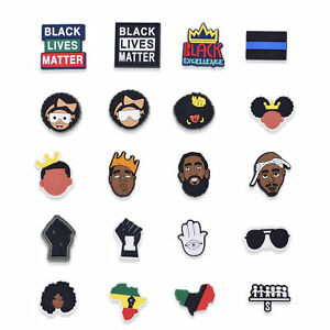20pcs Black Lives Matter Shoe Charms I Can't Breath Accessory BLM fit Whristband