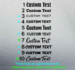 2x Custom Personalised Text Decal Stickers Name Car Bike Window Vinyl