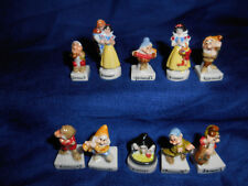SNOW WHITE MUSICIANS Set 10 Mini French Porcelain FEVES Figures Figurines DISNEY