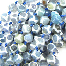 """10mm faceted agate round beads 7"""" strand blue white"""