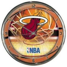 Miami Heat Chrome Round Wall Clock [NEW] NBA Sign Banner Office Cave