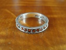 Silver 925 Ring Size 5 Red Stone Band signed Han Sterling
