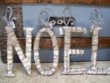 """Set 4 NIB 8"""" NOEL Glitter Beads Antique SHEET MUSIC LETTER Christmas ORNAMENTS"""