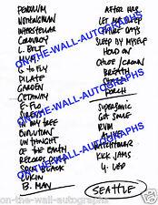 Pearl Jam Eddie Vedder Hand Written Setlist 12/6/13 Seattle Show Concert! Rare!