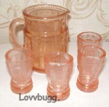 "Pink Princess Lemonade Set Depression Glass mini for 18"" American Girl Doll"