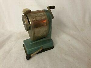 Vintage Boston Vacuum Mount Self Feeder Pencil Sharpener Green Blue Color