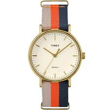 Mens Womens Watch TIMEX WEEKENDER TW2P91600 Golden Fabric INDIGLO
