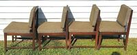 Set of 4 Mid Century Danish Modern Wood Side Dining Chairs w Original Fabric