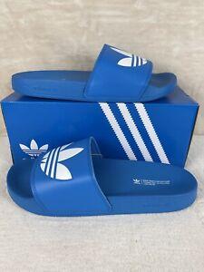 Mens adidas TREFOIL ADILETTE Lite Bright Blue Slides Sandals  Flip Flops Size 13