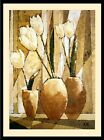 Tulpen (Modern Abstract Flowers with Vases Fine Art Wall Decor Framed)