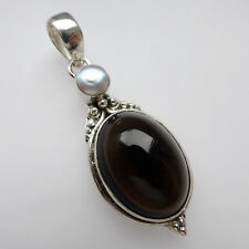 Smoky Quartz Pendant Pearl Solid Sterling Silver 925 Gemstone Jewellery