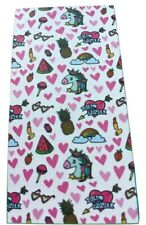CUTE UNICORN/ LOVE HEART BEACH TOWEL CHILDREN/ADULT SWIMMING -WHITE - NEW