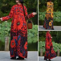 UK Womens Long Sleeve Printed Floral Casual Loose Flare Swing Kaftan Maxi Dress