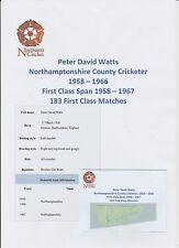 PETER WATTS NORTHAMPTONSHIRE COUNTY CRICKETER 1958-1966 HAND SIGNED CUTTING